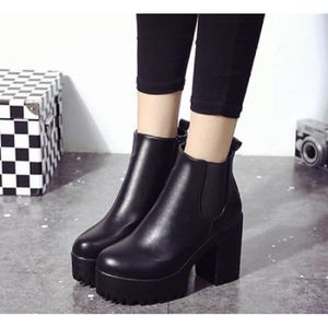 Bottines Femmes Automne Hiver talon épais en cuir bottes BLLT-XZ019Noir40 OcJhAxZ