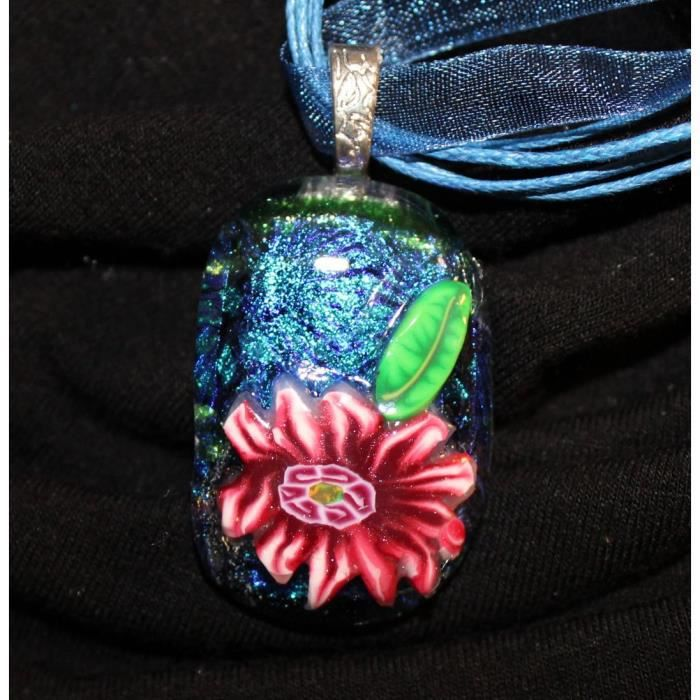 Womens Dichroic Glass Pendant With Polymer Clay Cane Work On Organza Cord GJOUN