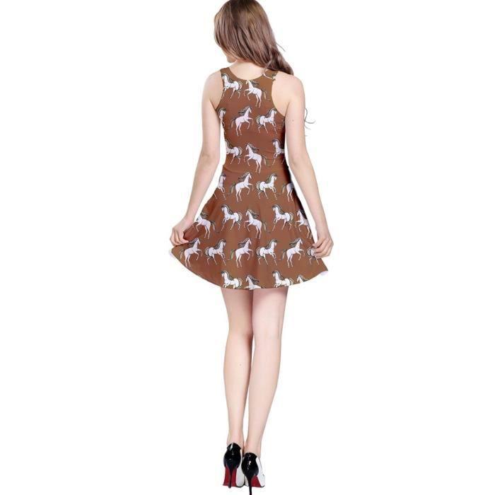 Craze womens robe patineuse sans manches sans couture licorne J12VB