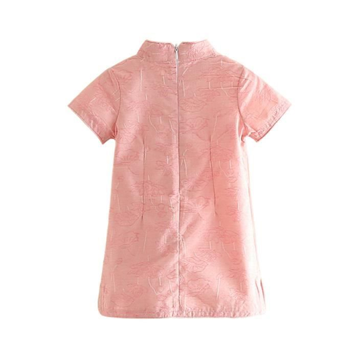 robe Boue Kingdom petites filles manches courtes robes chinoises Qipao rose clair 2T
