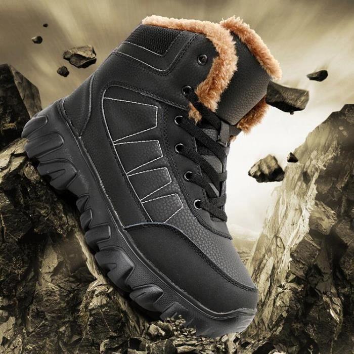 Bottes de neige hommes plus coton chaud en plein air de chaussure Antidérapant épaisses pour longues Botte marron plus taille 38-49