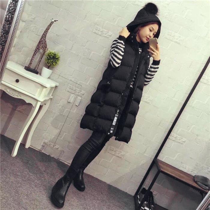 À nbsp;noir Taille Pour Manteau Femme Capuche Gilet Grande Parka Outwear Veste dtwq4nv