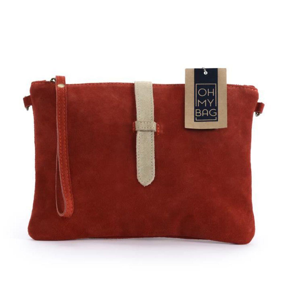 Très Sac à Main pochette femme en cuir nubuck - Modèle Twiggy rouge  YS54