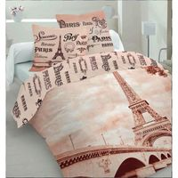 paris tour eiffel parure de lit 100 coton housse de couette 220x200 2 taies 70x80 id e d co. Black Bedroom Furniture Sets. Home Design Ideas