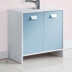 MEUBLE VASQUE - PLAN TOP Meuble sous-vasque L 60 cm - Blanc et bleu mat