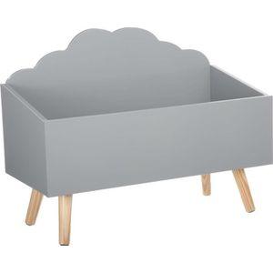 COFFRE À JOUETS Coffre à jouets nuage gris en bois