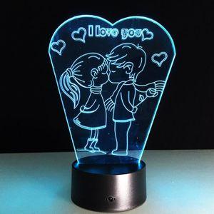 LAMPE A POSER Je t'aime 3D Night Light 7 changement de couleur u