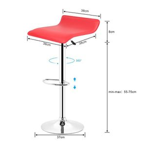cebf13ed9c30c3 TABOURET DE BAR LOT DE 2 TABOURET DE BAR CHAISE DE BAR - ROUGE. ‹›