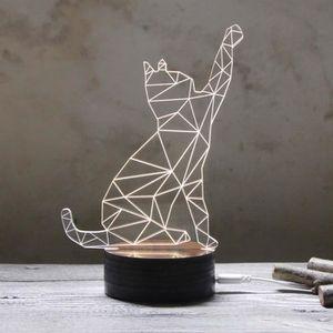 LAMPE A POSER 3D USB Lampe de Table en Forme Chat Lampe de Burea