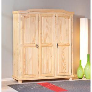 armoire de chambre armoire design rustique 3 portes en bois massif - Armoire Bois Massif Pas Cher