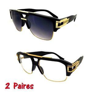 lunette de soleil homme avec monture or achat vente pas cher. Black Bedroom Furniture Sets. Home Design Ideas