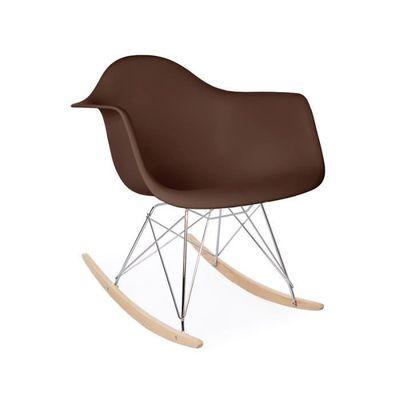 fauteuil style scandinave pied métal/bois à bascule - marron