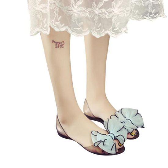 Bow bleu Ciel Fashion Chaussures Non Plage Poisson Glissement Bouche Plat Femmes Sandales UMzVqSp