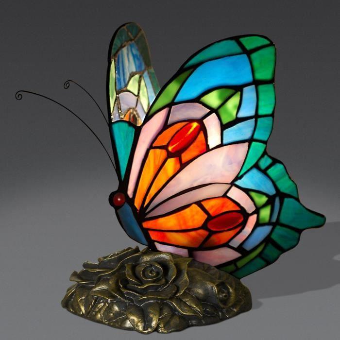 lampe a poser papillon lampe de chevet avec abatjour de verre s with abat jour papillon. Black Bedroom Furniture Sets. Home Design Ideas
