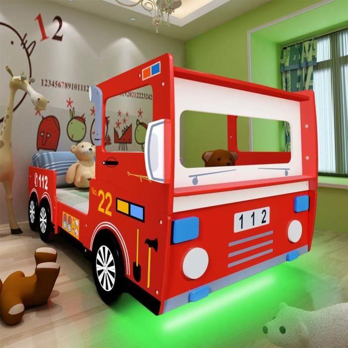 P28 Lit Camion De Pompier Pour Enfants Avec Led 200 X 90 Cm Rouge