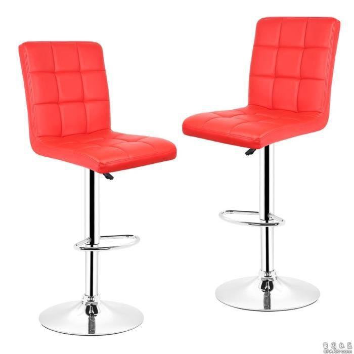 Paire De Tabourets Chaise De Bar Simili Cuir Rouge Freestyle
