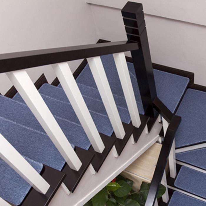 1pcs Solide Couleur Anti Derapant Tapis D Escalier Gris Bleu