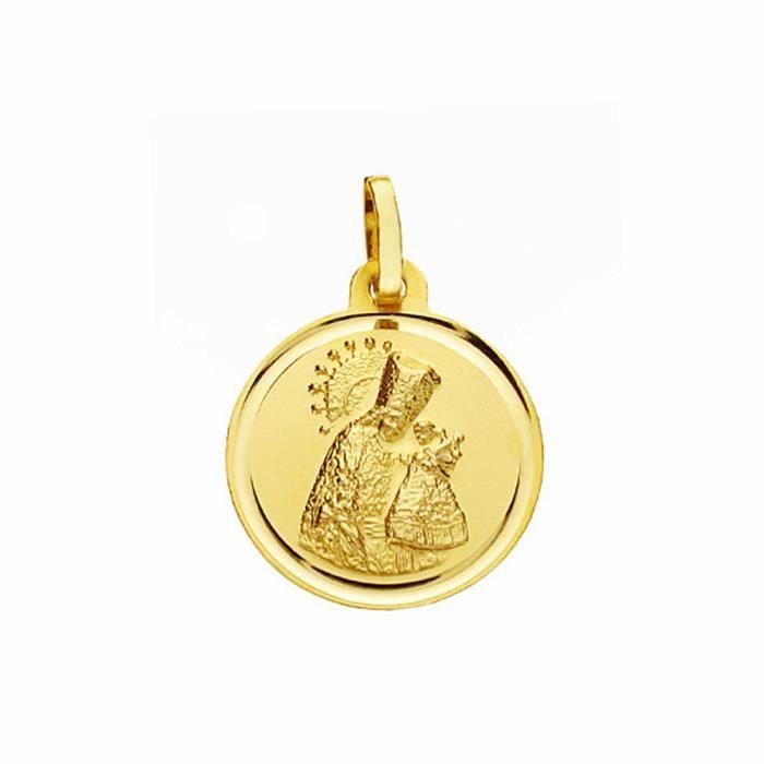 Médaille pendentif or Virgin Desamparados 16 mm 18k. biseau lisse [AA2571]
