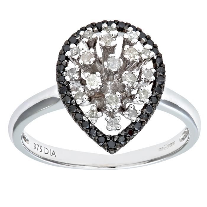 Très Bague diamant noir or blanc - Achat / Vente pas cher - Cdiscount HC84