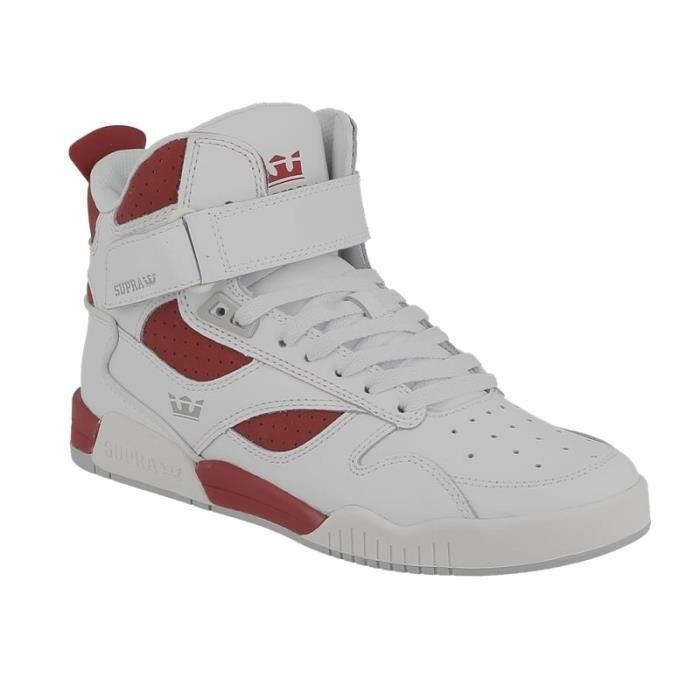 Basket Supra Bleeker haute en daim et cuir blanc et rouge BXrELMaY