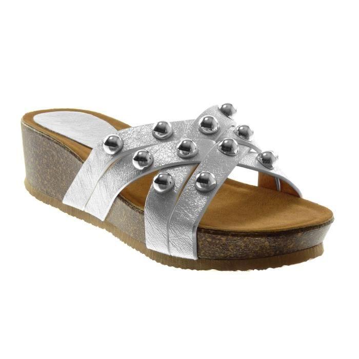 Angkorly - Chaussure Mode Sandale slip-on plateforme femme multi-bride clouté perle Talon compensé 5 CM - Blanc - AF603 T 39