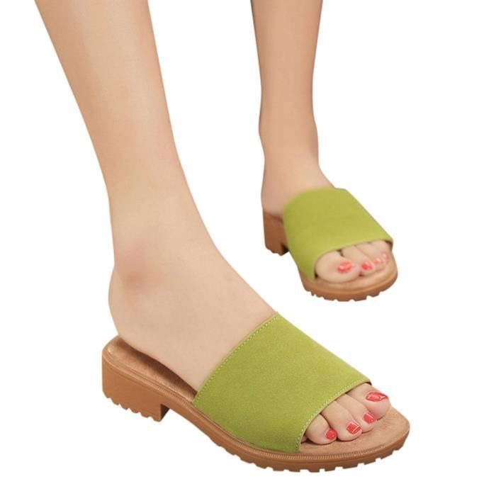 Flat Femmes's Sandals Slippers Fashion Shoes 4522 Solid xe Vert Ankle Summer Ladies rqHgIwr