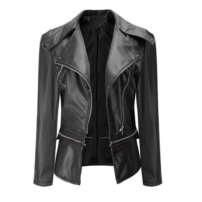 Blouson en cuir noir femme vintage