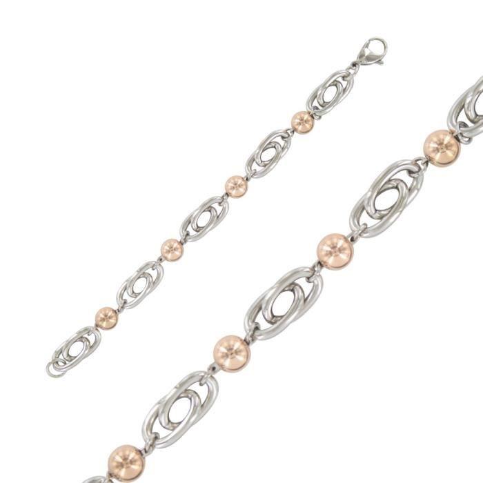 One Man Show - Bracelet en acier, boules roses pour femme