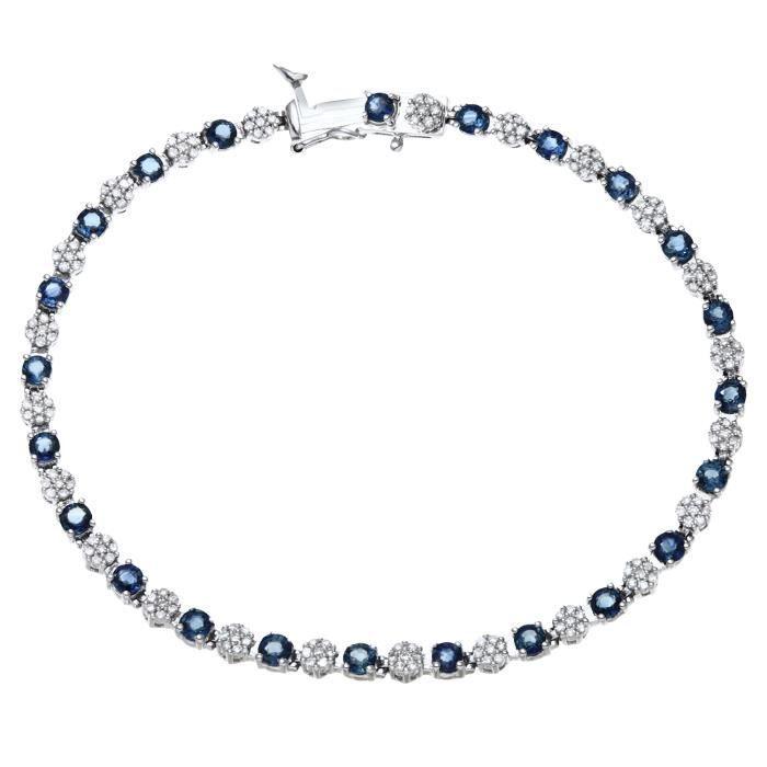 Revoni - Bracelet tennis en or blanc 9 carats, saphir et diamants - REVCDPBC02516WSA
