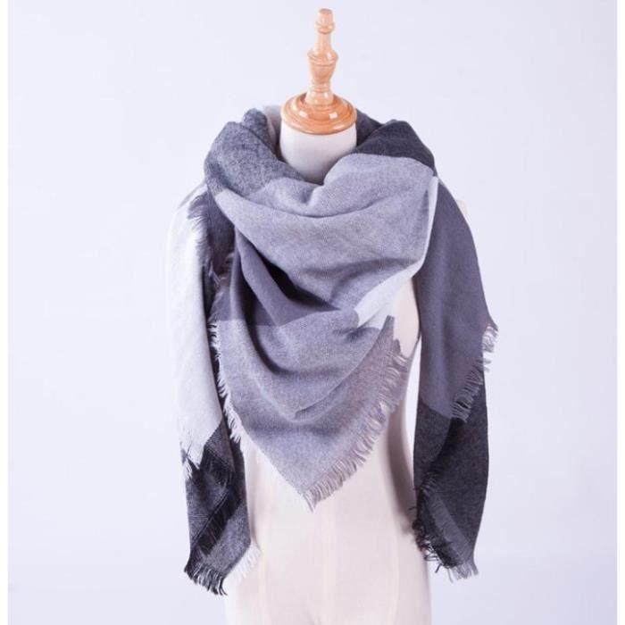 VOLIBEAR® Écharpe polaire Wraps Châle Femme Imitation Cachemire Plus épais  Treillis Echarpe Tricots Foulard 140 140cm 6b4f1b349a9