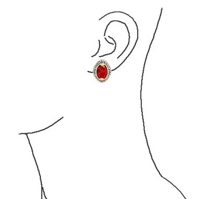 Cadeaux Bali Style Ovale Rouge Couleur Rubis Deux Ton Clip Sur Boucles