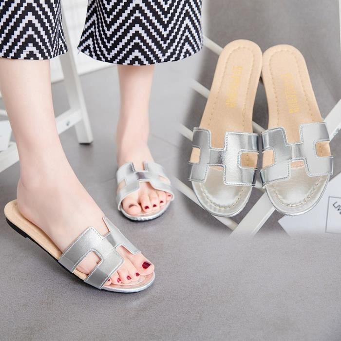 marque H dame rétro en cuir souple 4 sandales couleur chaussures Lele pantoufles chaussures d'or noir argent blanc,argent,36