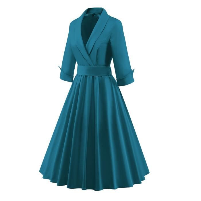 1950 3-4 manches Vintage Rétro Robes Robe Swing Femmes 2DSW1F Taille-42