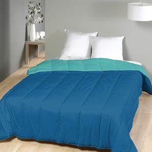 COUETTE Couette microfibre 240x260 cm bicolore bleu/turquo