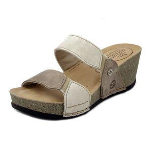 6d5e77ee5eff8 SANDALE - NU-PIEDS Mules Femme Compensées Sandales de Couleur beige-m