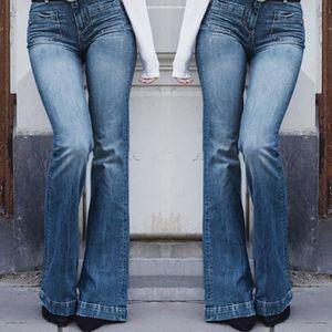 c518078338d815 Femme Automne élastique plus lâche Denim Pocket Casual Boot Jeans ...