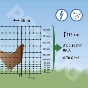 FILET DE PROTECTION Filet DOUBLE POINTE ELECTRIFIABLE 50 m/hauteur 112