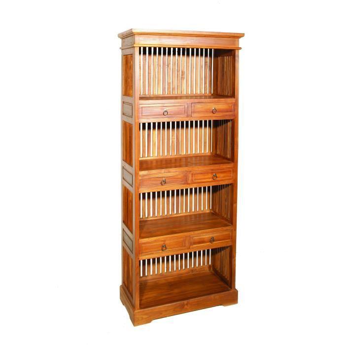 Bibliothèque coloniale Teck Miel 6 tiroirs BISHO