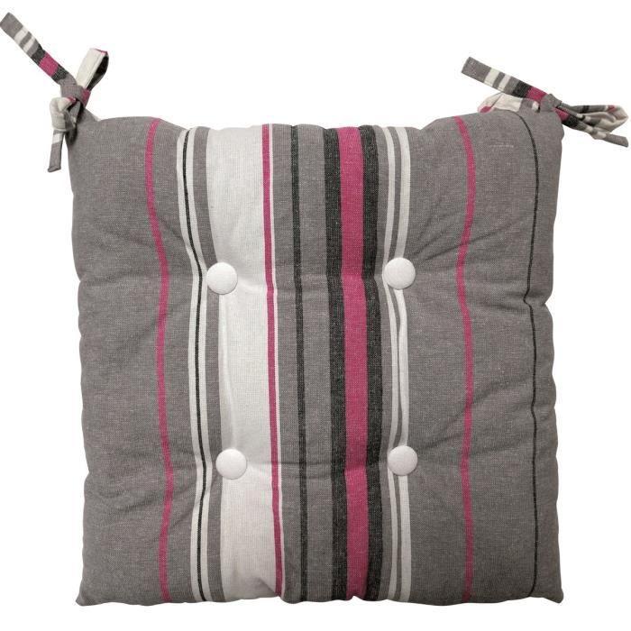 SOLEIL D'OCRE Galette de chaise capitonnée Stripes 100% coton 40x40x5 cm gris
