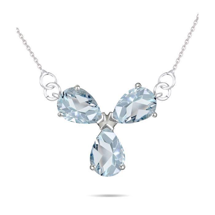 Bijoux / Sautoir - Collier / Sautoir - Collier - Adens Jewels - Collier-Topaze bleue-chaine argent 925-000- Femme- Bleu-Forme trèfl