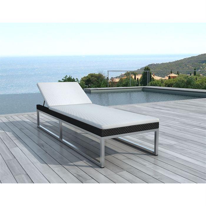 bain de soleil en r sine tress e noire sd1005 achat vente chaise longue bain de soleil noire. Black Bedroom Furniture Sets. Home Design Ideas