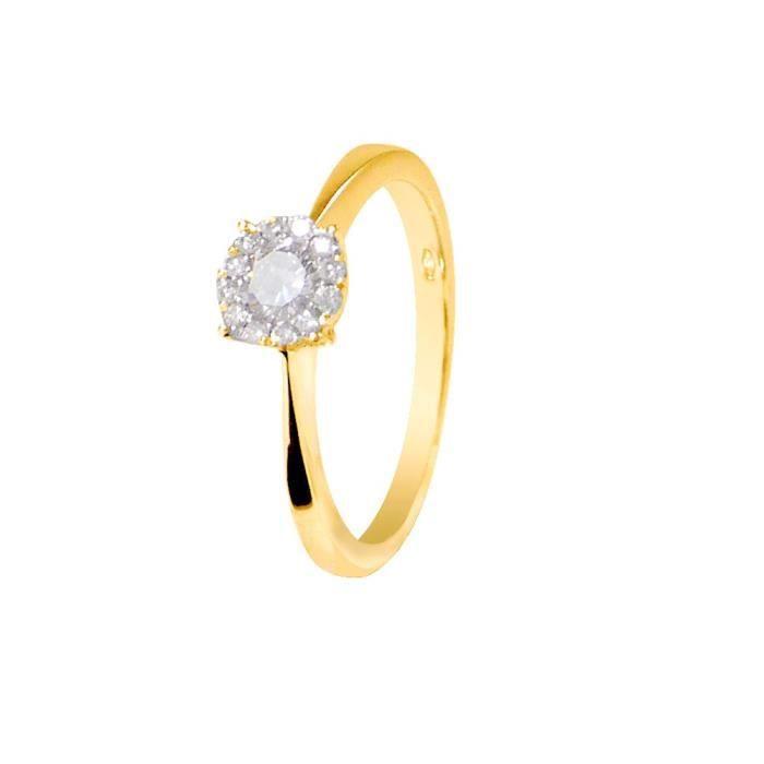 8934d9373dd61 DIAMOND LANE Bague Solitaire Or Jaune 750° et Diamants 0,36 cts Femme