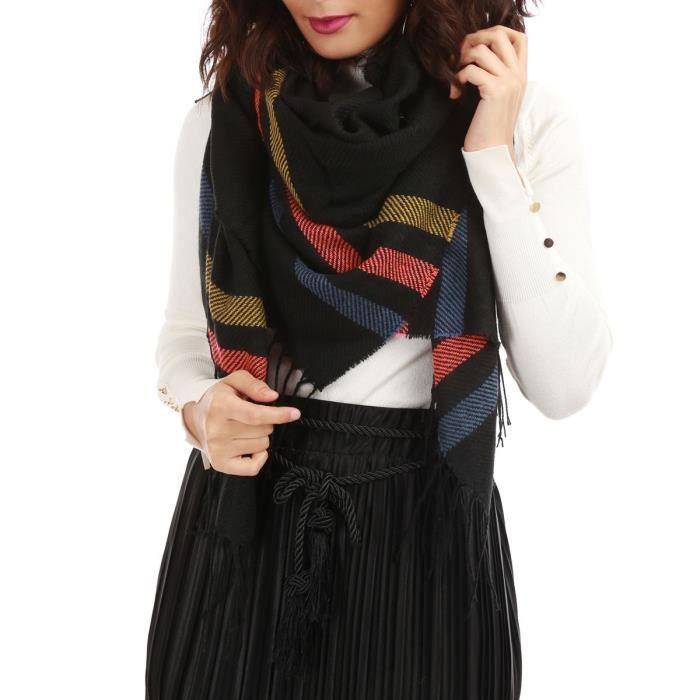 Écharpe noire triple bande colorée-TU U Noir - Achat   Vente echarpe ... ee7477d27f12