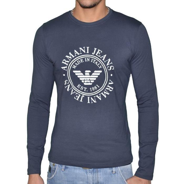 ffefa52df6793 T-Shirt Armani Homme manche longue MARINE - Achat   Vente t-shirt - Soldes   dès le 9 janvier ! Cdiscount
