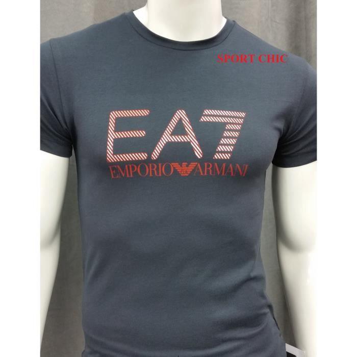 Tee Shirt EA7 Emporio Armani Manches Courtes Hommes Bleu Marine ... 106c43b358b