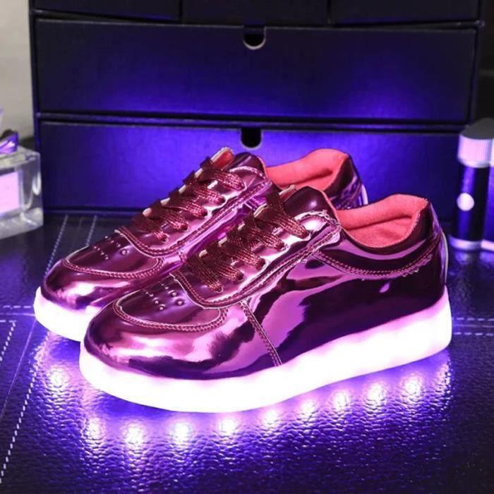 Enfant 7 Couleur USB Charge LED Lumière Lumineux Clignotants lumineux espadrille Baskets Garçons et filles Chaussures Fuchsia TmEL2