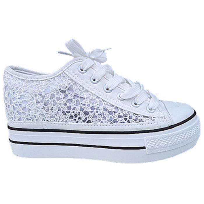 Sneakers compensées dentelle Noir ifFYreo2E
