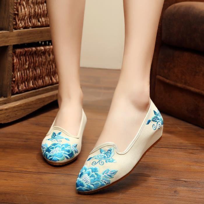 Femme Mocassins Rétro Chaussures chinoise Beige RwnXq5UYxX