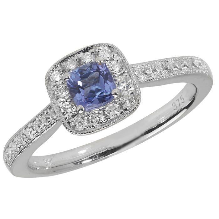 Bague Femme Pavage Or Blanc 375-1000 et Diamant Brillant 0.24 Carat HI - I1 avec Tanzanite