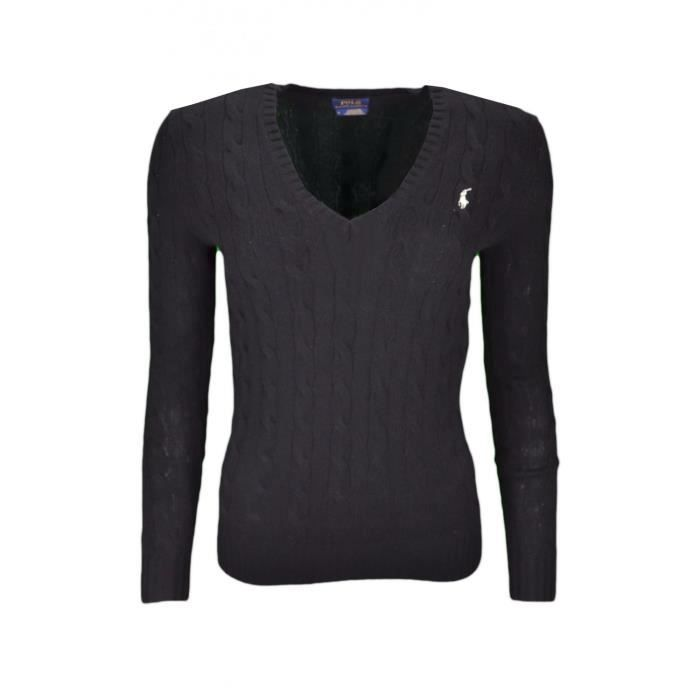 03665303c7fcc5 Pull col V Ralph Lauren Kimberly en laine noir pour femme - Taille  M -  Couleur  Noir